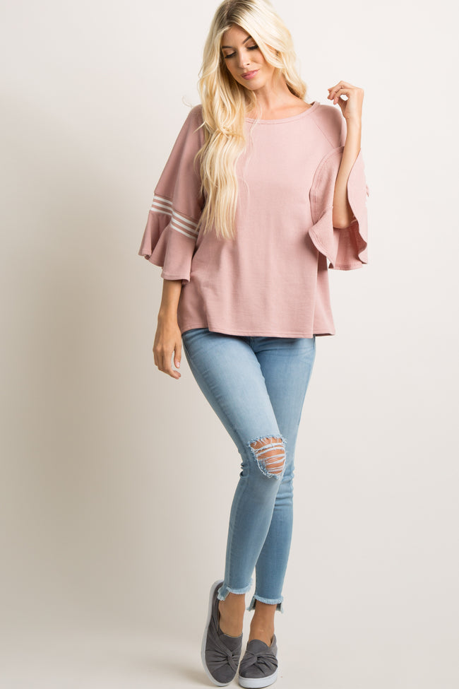 Pink Ruffle Bell Sleeves Top