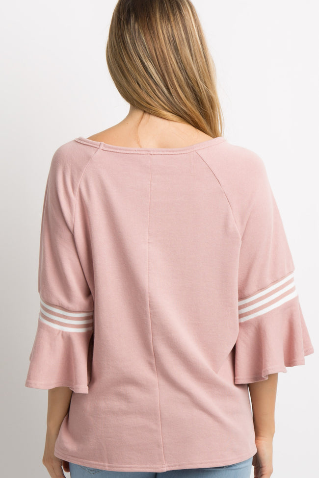 Pink Ruffle Bell Sleeves Maternity Top