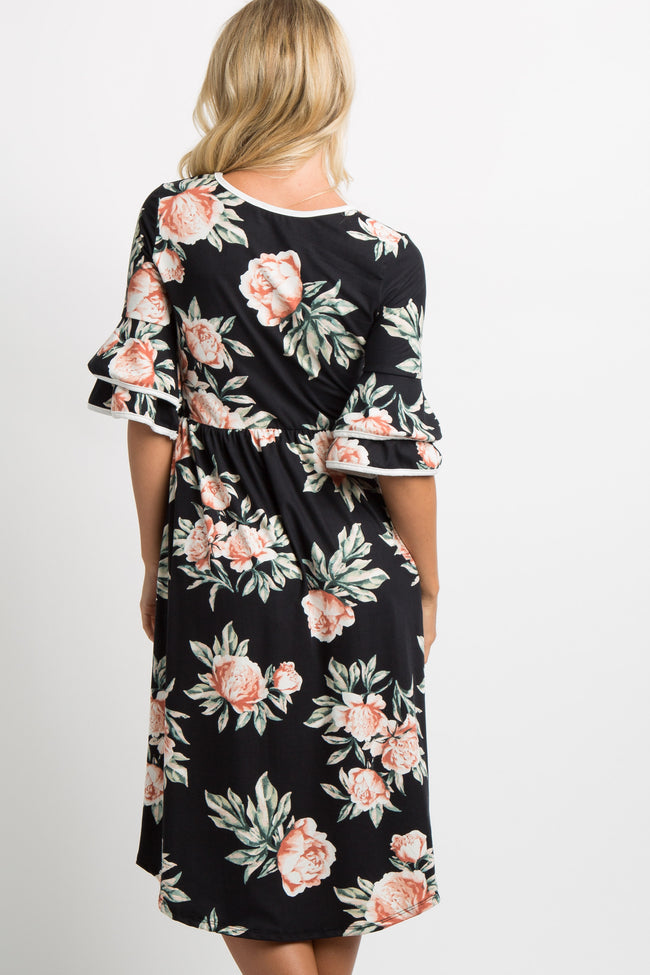 Black Floral Layered Sleeve Dress