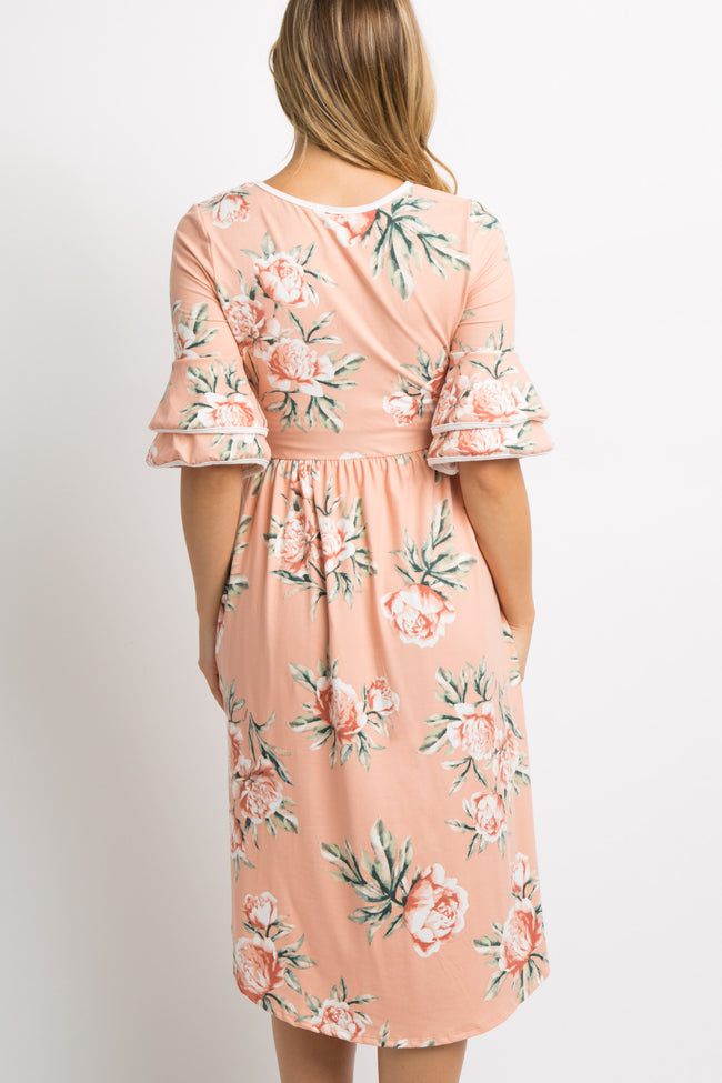 Pink Floral Layered Sleeve Maternity Dress