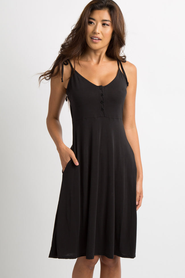 Black Shoulder Tie Button Up Maternity Dress