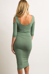 Green Ribbed Cold Shoulder Maternity Midi Dress