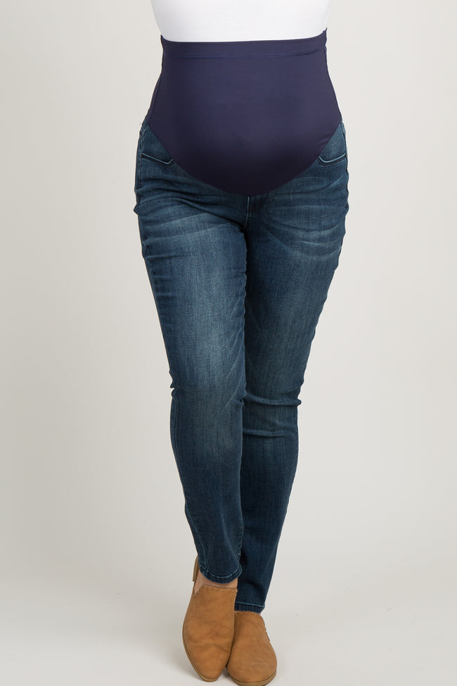 Blue Faded Plus Maternity Skinny Jeans