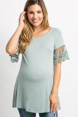 Mint Green Lace Short Sleeve Maternity Top