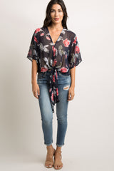 Navy Rose Floral Chiffon Tie Accent Top