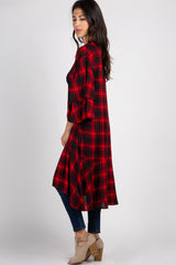 Red Plaid Ruffle Sleeve Cardigan