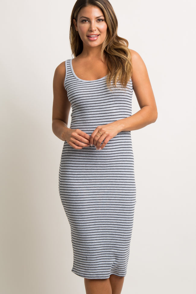 Grey Striped Fitted Ribbed Maternity Midi Dress