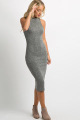 Charcoal Grey Heathered Knit Midi Dress