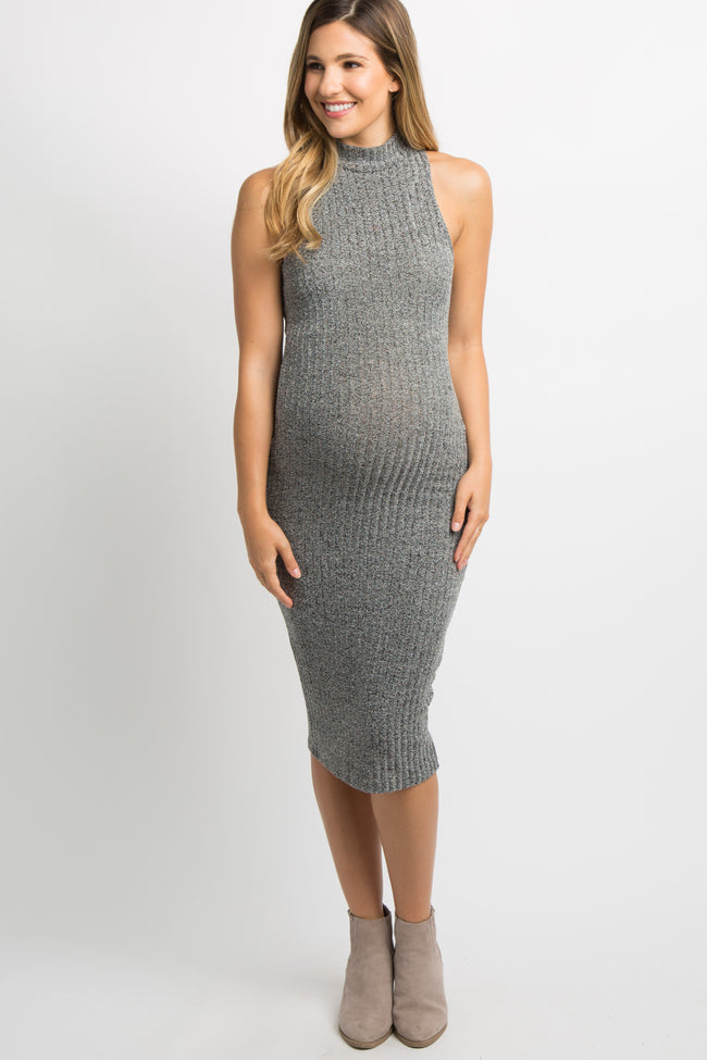 Charcoal Grey Heathered Knit Maternity Midi Dress