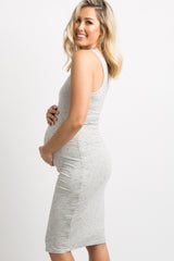 Ivory Pin Striped Fitted Maternity Dress