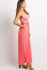 Coral Striped Top Maxi Dress
