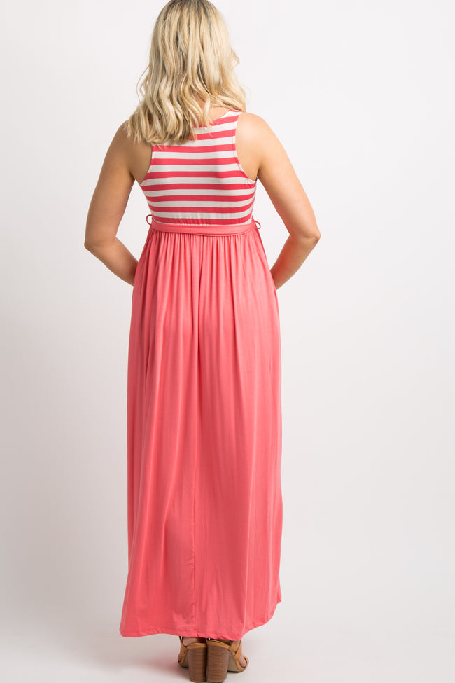 Coral Striped Top Maternity Maxi Dress