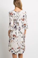 Cream Floral 3/4 Bell Sleeve Maternity Midi Dress