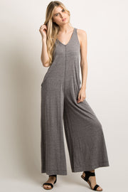Charcoal Sleeveless Wide Leg Jumpsuit