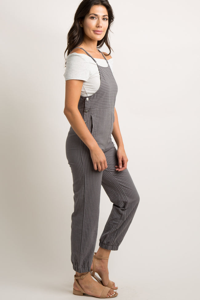 Grey Pinstriped Button Accent Cami Jumpsuit