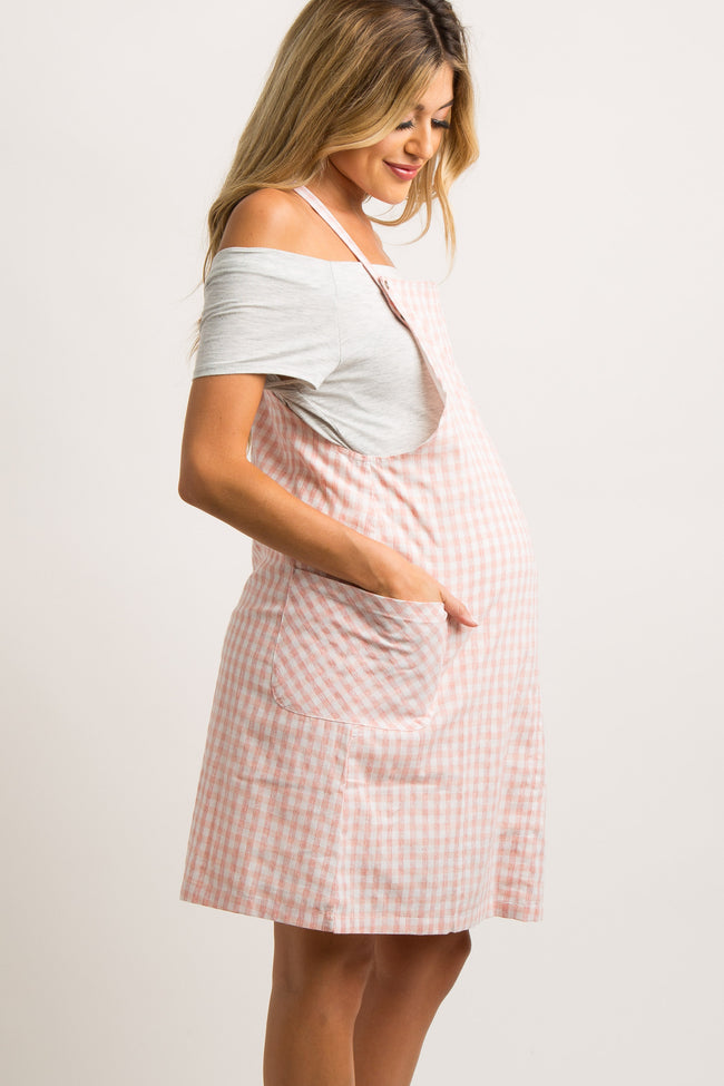 Pink Plaid Maternity Overall Dress