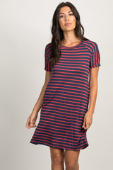 Navy Striped Colorblock Dress