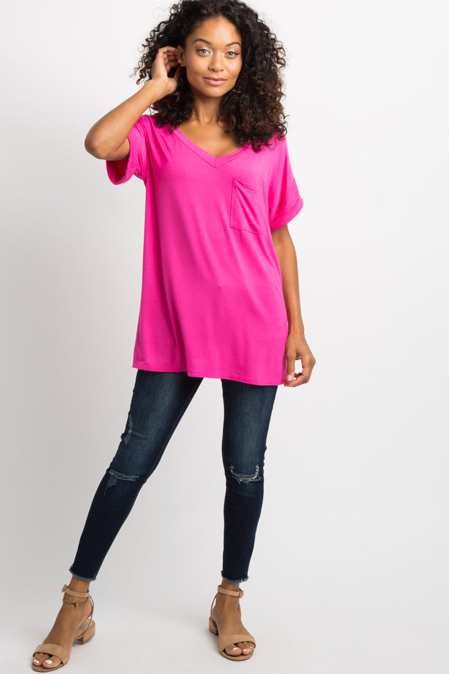 Fuchsia V-Neck Pocket Accent Top