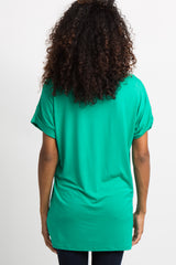 Green V-Neck Pocket Accent Top