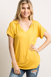 Mustard Basic V-Neck Pocket Top