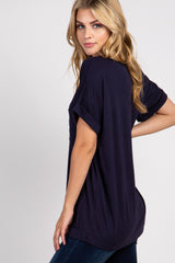 Navy Basic V-Neck Pocket Top