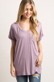 Lavender Basic V-Neck Pocket Top