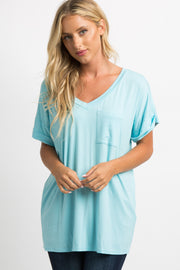 Light Blue Solid Pocket Top