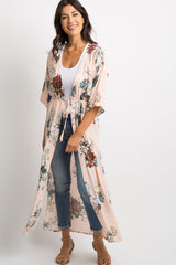 Light Pink Floral Side Slit Tie Front Maternity Kimono