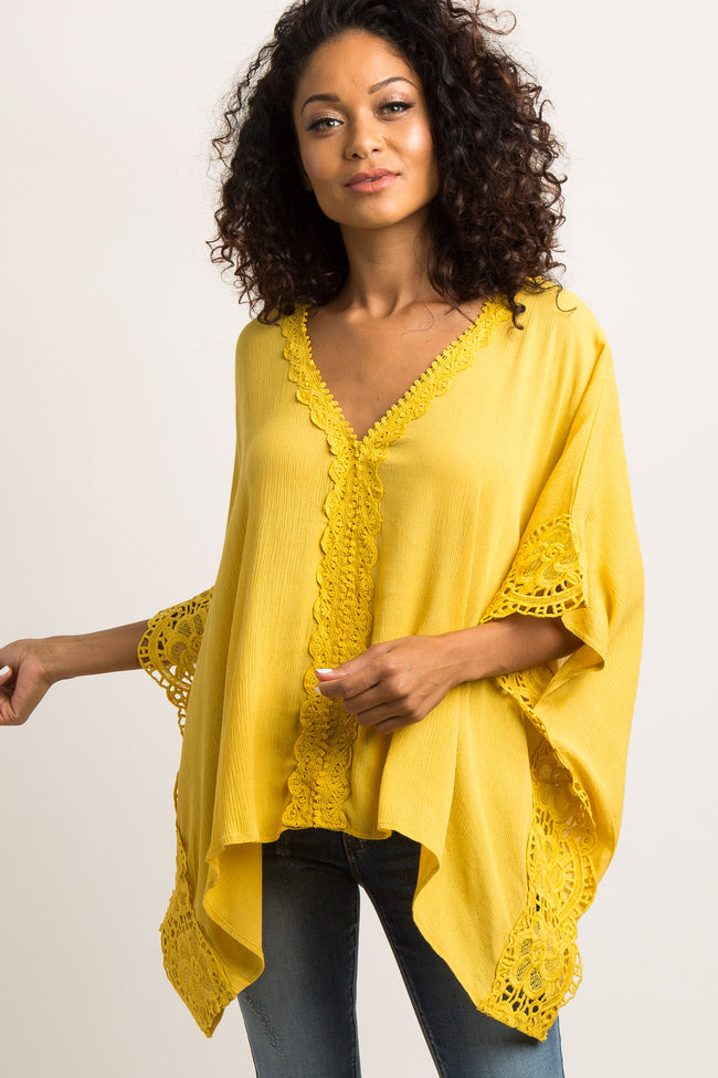 Yellow Solid Crochet Accent Poncho Top