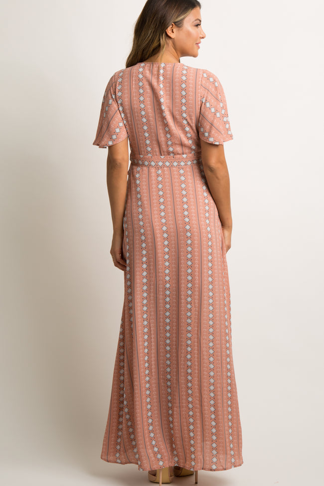 Mauve Printed Chiffon Wrap Tie Maxi Dress