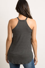 Black Striped Halter Neck Maternity Tank Top