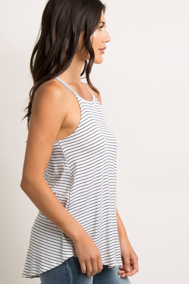 Ivory Striped Halter Neck Tank Top