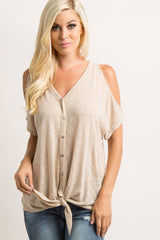 Taupe Cold Shoulder Tie Front Top
