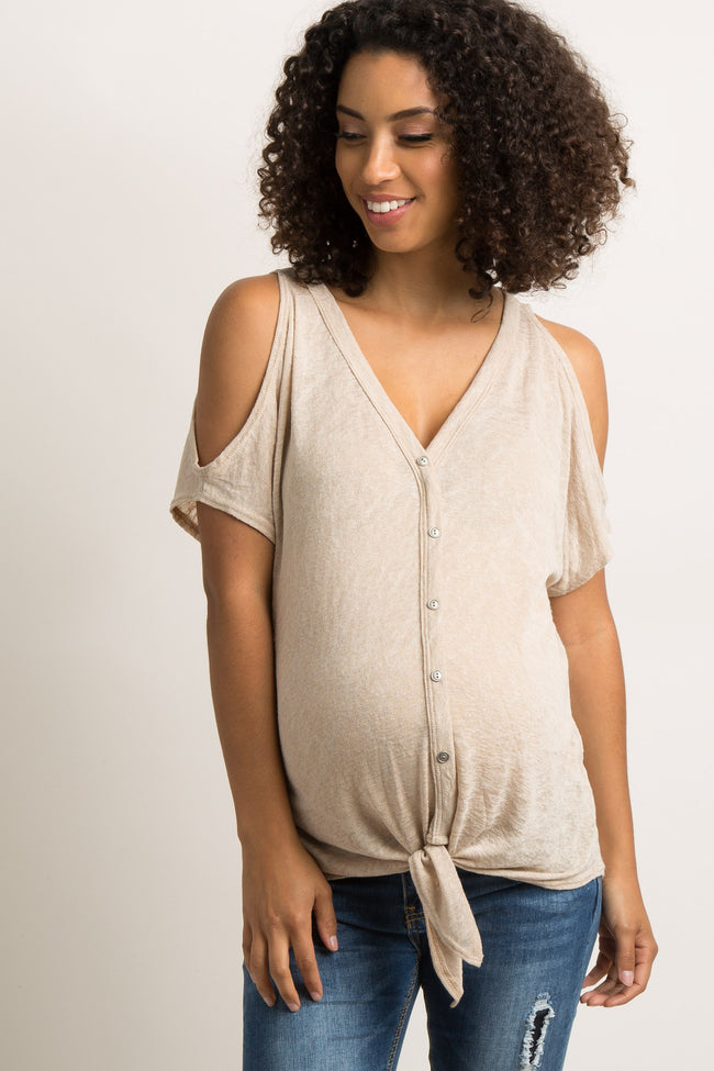 Taupe Button Tie Front Dolman Maternity Top