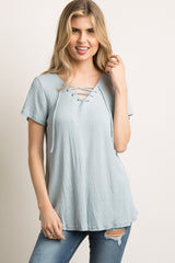 Blue Waffle Knit Lace-Up Top