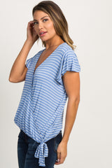Blue Striped Draped Wrap Side Tie Top