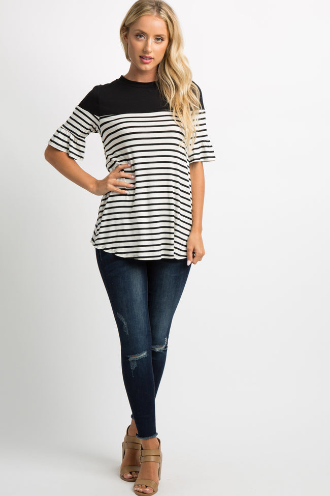 PinkBlush Black Striped Colorblock Ruffle Sleeve Top