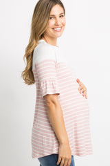 Pink Striped Colorblock Ruffle Sleeve Maternity Top