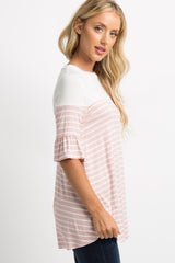 Pink Striped Colorblock Ruffle Sleeve Top