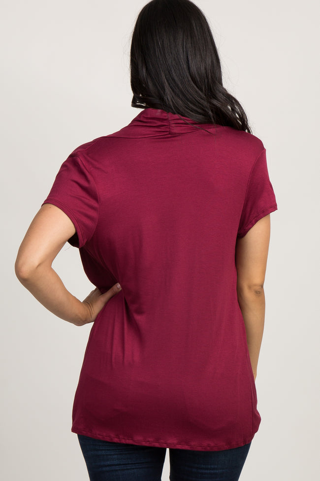 Burgundy Draped Wrap Front Maternity/Nursing Top