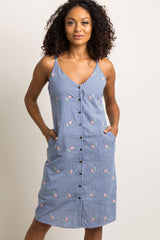 Blue Gingham Embroidered Cami Dress
