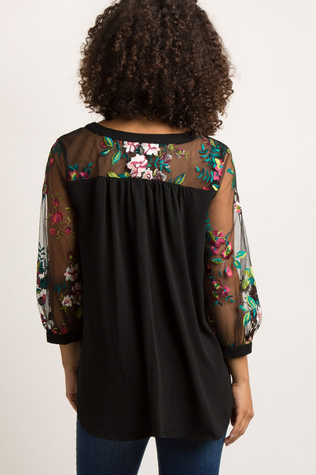 Black Embroidered Mesh Sleeve Maternity Blouse