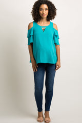 Turquoise Cold Shoulder Ladder Cutout Maternity Top