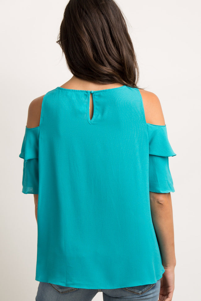 Turquoise Cold Shoulder Ladder Cutout Top