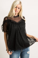 Black Polka Dot Mesh Ruffle Trim Top