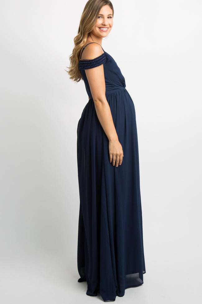 Navy Chiffon Beaded Open Shoulder Maternity Evening Gown