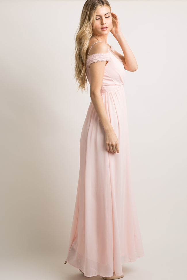 Pink Beaded Off Shoulder Chiffon Gown