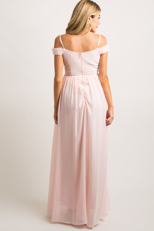 Pink Beaded Off Shoulder Chiffon Maternity Gown