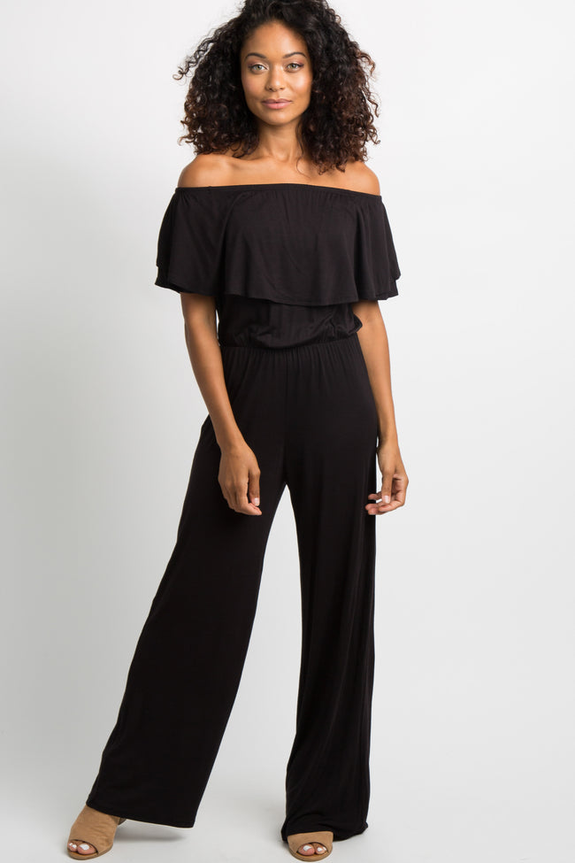 Black Ruffle Off Shoulder Jumpsuit