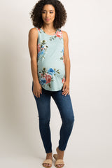 Mint Green Floral Striped Back Maternity Tank Top